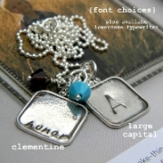 Vintage Squares - Stamped Necklace