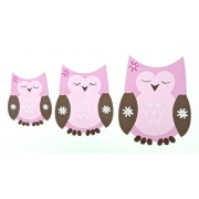 Wall Motif Set - Owls Pink & ChocolatePainted