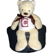 Personalised Teddy Bear - CREAMChoose your letter, bear colour and fabric patch colour