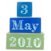 .Wooden Blocks - Personalised Date of Birth Set choose your colours and date