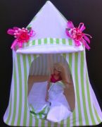 Kids Mini Play Tent Teepee - Green and White Stripes Design