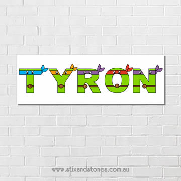 .Teenage Mutant Ninja Turtles Personalised name plaque canvas for kids wall art - Long Rectangular White Background