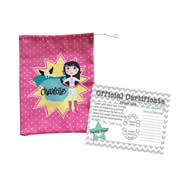 Tooth Fairy Bag Personalised for Kids - Girls Pink Superhero