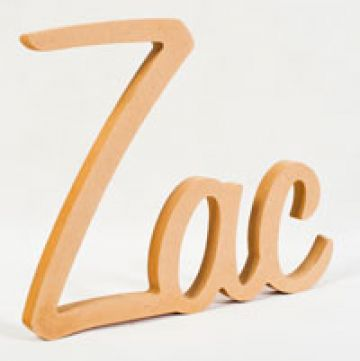 Stix and Stones Baby - Wooden Scripted Name UNPAINTED Plaque for kids LARGE Retro Style Font 3 letter name