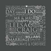 Our Wedding Day Personalised Custom Made Typography Print Bus Scroll Perfect for Wall Art or Reception Entry (Charcoal Design)