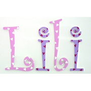 Wooden Alphabet Letters for walls Handpainted and personalised for kids  - Pink and Purple Hearts