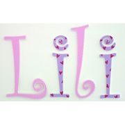 Wooden Alphabet Letters for walls Handpainted and personalised for kids - Solid Pink and Purple Hearts