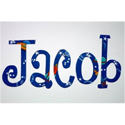 Wooden Alphabet Letters for walls Handpainted and personalised for kids - Space Theme