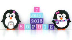 .Wooden Blocks - Personalised BLOCKS - PENGUIN FAMILY SET name, date and two freestanding blocks