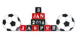 .Wooden Blocks - Personalised BLOCKS - SOCCER SET name, date and two freestanding blocks
