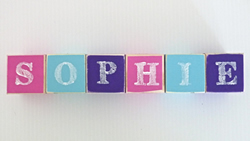 .Wooden Blocks - Personalised for kids BLOCKS for child - GIRLS (SMALL) choose your colours, motifs and name