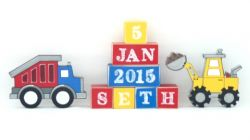 .Wooden Blocks - Personalised BLOCKS - CONSTRUCTION name, date and two freestanding blocks