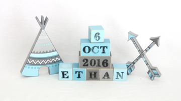 .Wooden Blocks - Personalised BLOCKS - TRIBAL TEEPEE SET name, date and two freestanding blocks