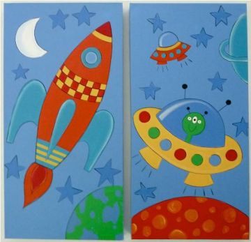 Wonderful Artwork Childrens Room Decor   Space Kids Wall Art Canvas (Set Of 2)