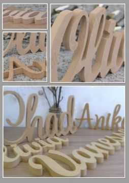 FREESTANDING Wooden Scripted Name UNPAINTED Plaque for kids - OVER 25 FONTS