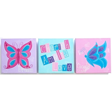 Personalised kids name canvas wall art canvas artwork childrens room decor butterfly words inspiration canvas set of 3