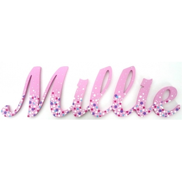 Stix and Stones Baby - Scripted Name Plaque Wooden Letters for LARGE Fonts WITH A PAINTED PATTERN Starting from 3+ letters Pattern - Bubblegum Shown here in ...