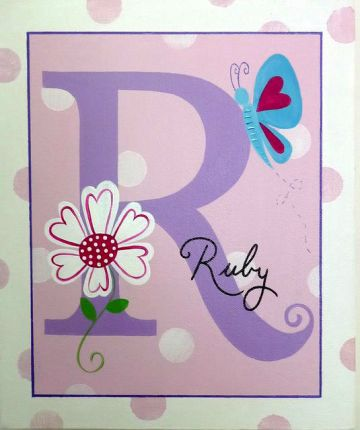 Personalised Kids Name Canvas Wall Art Canvas Name Plaque Handpainted Butterfly Initial & Stix and Stones Baby - Personalised Kids Name Canvas Wall Art Canvas ...