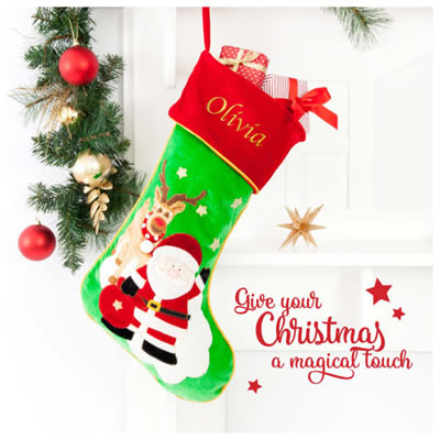 Christmas Stocking For Kids Personalised Reindeer Hand Painted