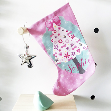 christmas stocking for kids personalised girls christmas tree - Girls Christmas Stocking