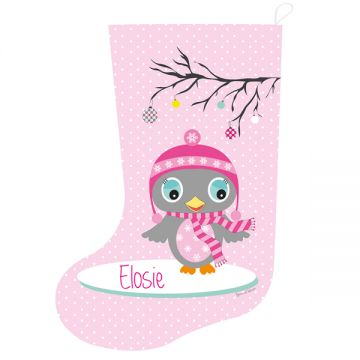 christmas stocking for kids personalised girls pink owl design - Girls Christmas Stocking