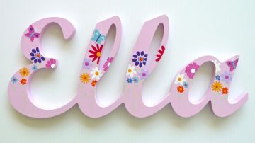 scripted name plaque wooden letters for large fonts with a themed painted pattern starting from 3 letters themed butterfly garden design pink