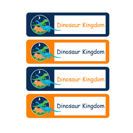 stix and stones baby personalised school labels dinosaur kingdom