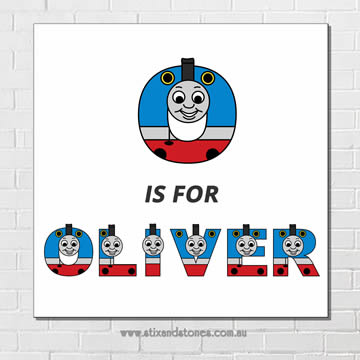 Thomas the Tank Engine Personalised Name Plaque canvas for kids wall art - Square white background  sc 1 st  Stix and Stones Baby & Stix and Stones Baby - Thomas the Tank Engine Personalised Name ...