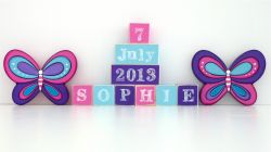 Personalised gifts blocks wooden personalised for kids personalised wooden blocks personalised blocks butterfly set name date and two freestanding blocks negle Image collections